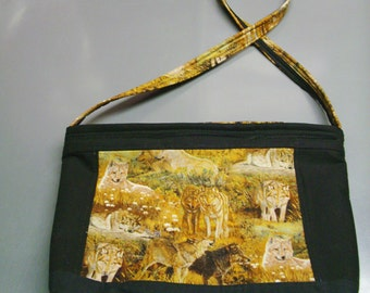 Wolves - Purse - Black Brown - White Cotton Interior - Padded - Shoulder Handle - One of a kind
