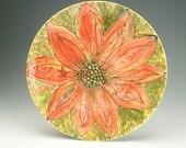 """Large Christmas Poinsettia Flower 14-3/4"""" Platter Hand Painted Dinnerware"""
