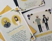 Invite Card (Profiles), RSVP, & Map / Reception Card : Custom Illustrated Wedding Invitations