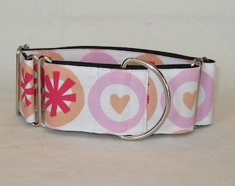 SALE Big Heart Martingale Dog Collar - 2 Inch - purple red orange white circle love