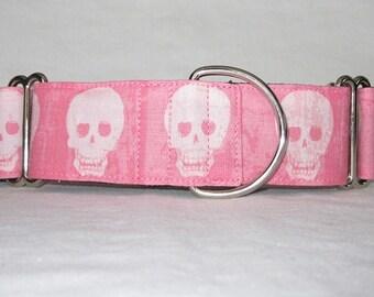 Pink Skull Martingale Dog Collar - 1.5 or 2 Inch - Riley Blake fabric geekly chic fun