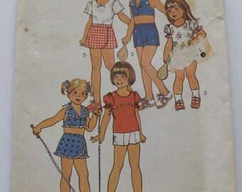 Vintage 1970s UNCUT Simplicity Pattern 6908 Girls Top, Halter Top, Pantskirt and Shorts Size 6X