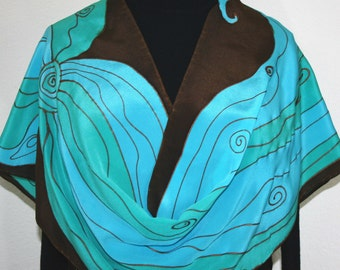 Silk Scarf Handpainted. Turquoise, Teal, Brown Hand Painted Shawl. Handmade Silk Wrap MYSTIC FLOWER. Large 14x72. Birthday Gift Mother's Day