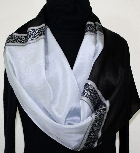 Black Silk Scarf Hand Painted Silk Shawl Silvery Grey Black Handmade Silk Scarf NIGHT SPARKLE Large 14x72 Bridesmaid Gift Free Gift-Wrap