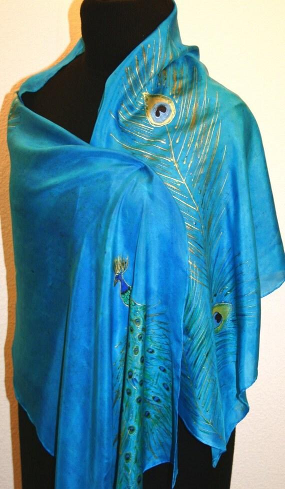 turquoise silk scarf painted scarf blue handmade silk
