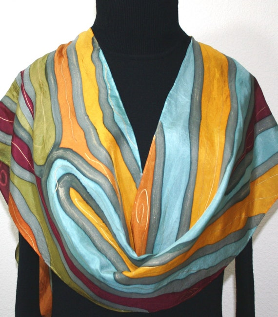 Silk Scarf Handpainted. Sage Green, Burgundy Hand Painted Shawl. Handmade Silk Scarf MOUNTAIN CREEKS. Size 11x60. Anniversary, Mother Gift.