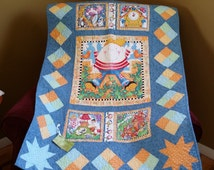 Humpty Dumpty crib quilt, pastel blue, green, yellow and orange quilt, nursery rhyme quilt, nursery room  bedding