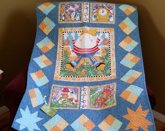 Humpty Dumpty baby quilt, pastel blue, green, yellow and orange, nursery rhyme crib quilt, Quiltsy Handmade