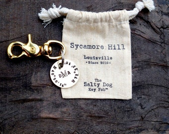 The Salty Dog Key Fob™ CUSTOM Longitude Latitude Key Ring with your MONOGRAM or INITIALS by Sycamore Hill. Nautical. Classic. Love Inspired.