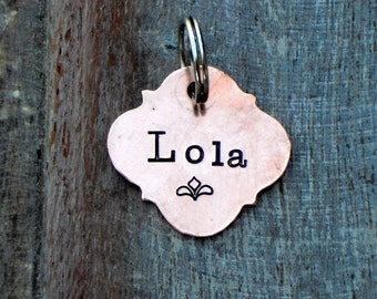 The BOHO Tag with design stamp. Hand Stamped Pet Name Tag. Identifcation Tags for dog, cat, horse. Vintage Inspired Pet Tags™ Halter Tag