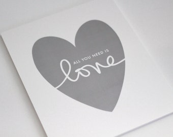 """Grey Heart on White Shimmer paper with """"all you need is love"""" // grey heart print  // hand lettering // all you need is // PRINT SIZE 8""""x10"""""""