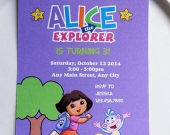 Dora the Explorer Invitation | Dora the Explorer Birthday | Dora Invitation Printable | Dora Decorations | Dora Party