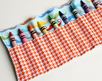 Mustache and Orange Houndstooth Crayon Roll for Boys - Ribbon or Velcro Closure (You Pick) - Crayon Organizer - Little Boy Birthday Gift -