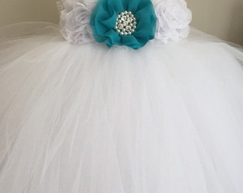 Teal and white tulle flower girl dress, girls teal dress, teal wedding, girls teal tutu dress