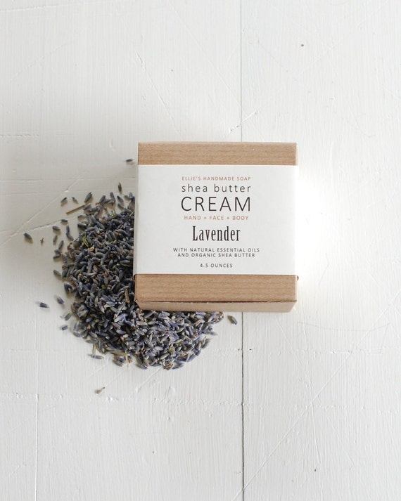 LAVENDER Shea Butter Cream - with pure essential oils + organic shea butter - paraben free - 4.5 ounces