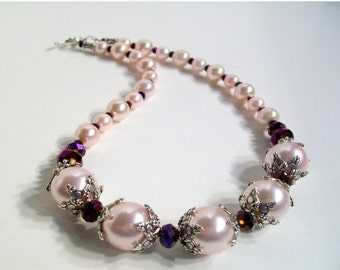 Pearl Necklace Set, Pink Pearl, Rich, Cranberry, Purple, Swarovski Crystal, Choker, 2 Piece Set