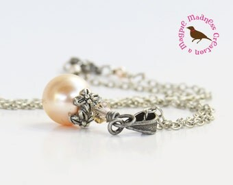 Peach Pearl Pendant Necklace in Antiqued Silver, Peach Swarovski Pearl Necklace, Victorian Peach Necklace, MagpieMadness for Etsy