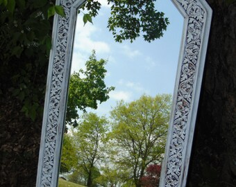 SHABBY Chic Mirror, Long Mirror, White Mirror, Nursery Mirror, Hollywood Regency Mirror, Vintage Mirror, Leaf Design, Size 45 inches tall