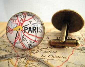 "Custom Map Cuff Links, Paris France 3/4"" 20mm Mens Jewelry Gift Ideas Groomsmen Cuff Links Mens World Travel"