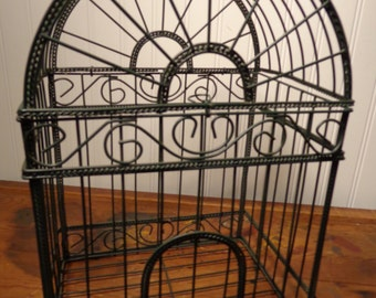 Vintage Green Metal Display Birdcage -  Wire Birdcage  -  15-323