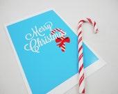 Printable Print - Merry Christmas in Ice Blue JPG and TIF Download Digital Files Xmas Last Minute Gift