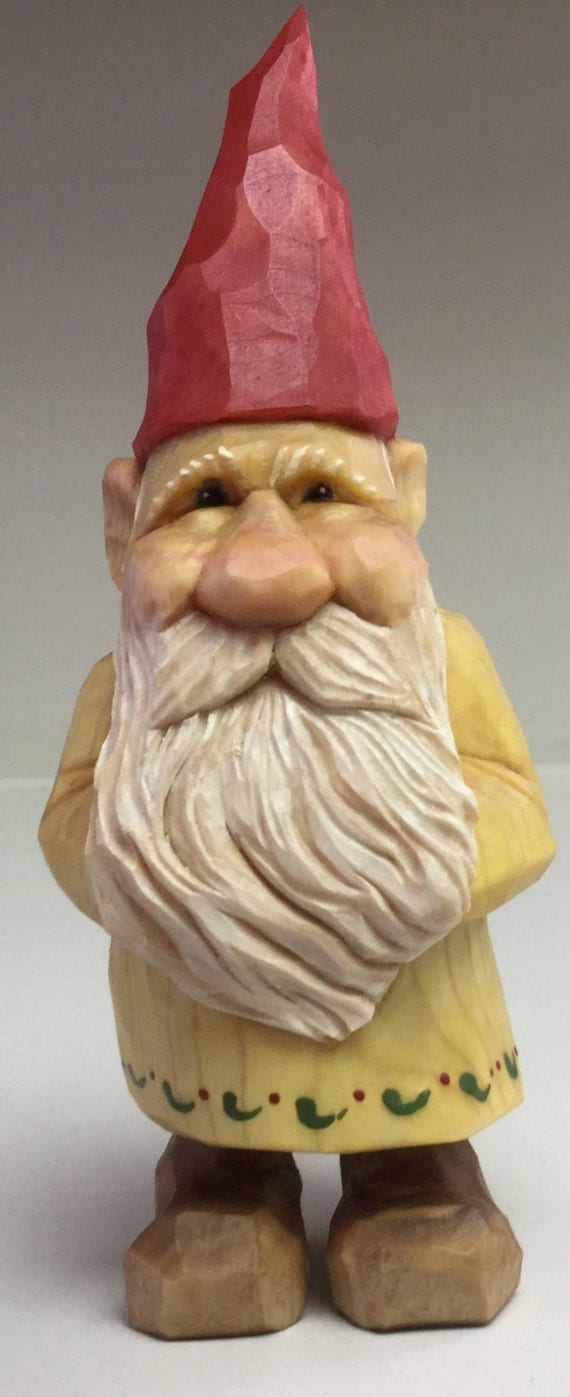 Gnome elf santa christmas wood carving statue
