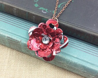 Dr. Pepper  Flower Pendant Necklace.   Recycled Soda Can Art.