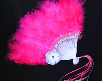 Girls Feather Fan - Pink Feather Fan - Child's Fan - Tea Party Accessory - Pink and Silver Grey Feather Fan - FF41