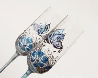 Blue Butterflies Toasting Glasses, Wedding Glasses, Champagne Flutes, Blue Wedding Glasses, Teal Blue, Aqua Blue, Hand Painted, Set of 2
