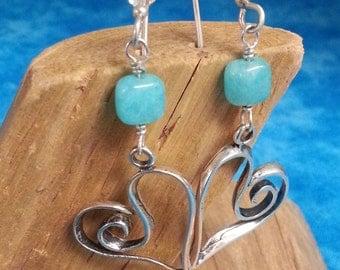 Sterling Silver Heart Peruvian Opal Earrings