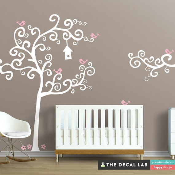 Swirly Tree with Birds Wall Decal - WAL-2105