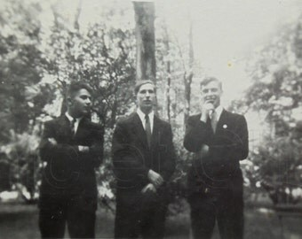 Vintage Black & White Photo - Three Men in Suits Stood Outside