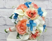 Wedding bouquet coral rose white real touch calla lily turquoise bridal bouquet
