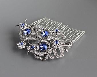 Blue Crystal Bridal Comb, Crystal Bridal Hair Comb, Sapphire Blue Hair Clip, Customized Wedding Comb, Deco Crystal Hair Piece, BOUQUET CR