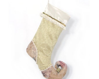 "Christmas stocking ""Golden Swirl""- golden sequin - Chic and unique decoration - Elf stocking - Pixie - Magical - Gold Ivory - Christmas"