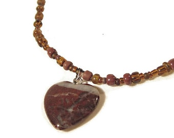 Jasper Stone Heart Pendant with Subtly Glowing Brown Seed Beads Necklace