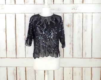 Vintage sheer black beaded sequins short sleeve top/beaded evening formal blouse/cropped sequin top