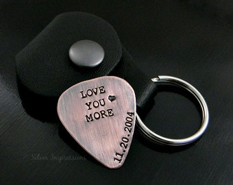 Love you More Personalized Copper Guitar Pick / Rustic PIck / Music Lover's Gift