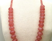 """Graziano Large Pink Faceted Crystal Bead Necklace 34"""""""