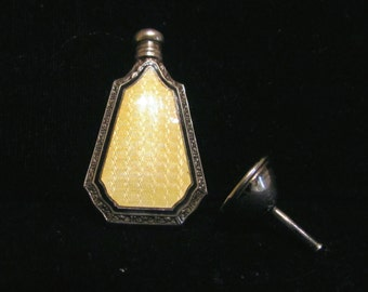 1920's Art Deco Perfume Bottle Webster & Co Sterling Silver Yellow Enamel Guilloche Perfume Bottle Flask And Funnel