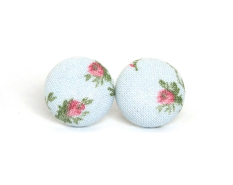 Vintage style stud earrings - floral button earrings - rose fabric earrings - flower blue pink green