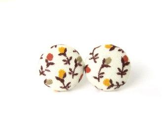 Fall autumn earrings - bright button earrings  - fabric earrings - stud earrings - white mustard yellow brown orange flowers