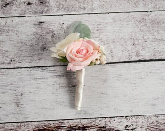 Blush Pink and Ivory Rose Wedding Boutonniere with Lamb's Ear