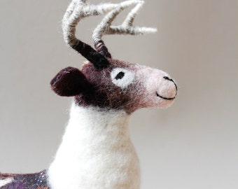 Soft Toy Deer - Thorwald. Christmas Reindeer Art toy Marionette Woodland plush deer soft plushie toy for children Red Deer Felted Toy. brown