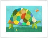 Grazing Tortoise Art Print // Children's Illustration //  Nursery
