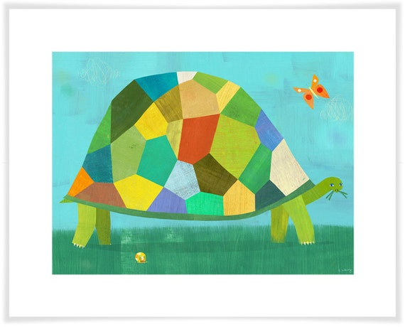 Grazing Tortoise Art Print // Children's Illustration //  Nursery