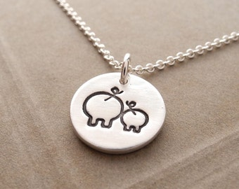 Tiny Mother and Baby Pig Necklace, New Mom Necklace, Fine Silver Mother and Piglet, Sterling Silver Chain, Made To Order