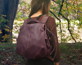 Handmade leather backpack - Katerina in Purple color, MADE TO ORDER