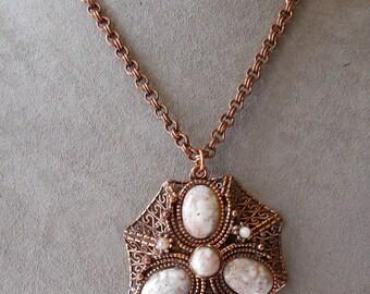 Vintage 1960s Copper Filigree Pendant Necklace w/ Glitter Cabochons