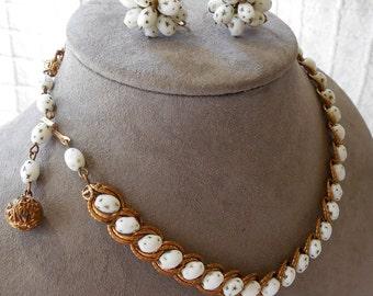 HOBÉ White Beads in Gold Chain Choker Necklace & Earrings Set